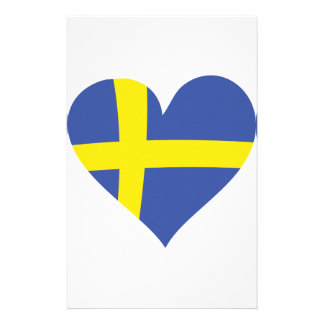 sweden heart icon stationery design