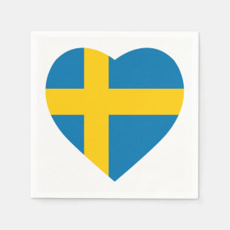 SWEDEN HEART SHAPE FLAG PAPER NAPKINS