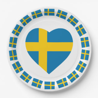 SWEDEN HEART SHAPE FLAG PAPER PLATE