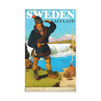 Sweden Lappland Vintage Travel Poster Restored Canvas Print