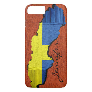 Sweden Map Flag Burlap Wood Look iPhone 7 Plus Case