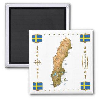 Sweden Map + Flags Magnet