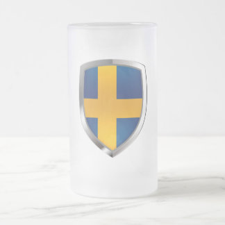 Sweden Metallic Emblem Frosted Glass Beer Mug