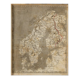 Sweden, Norway Map by Arrowsmith Poster