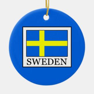 Sweden Round Ceramic Ornament