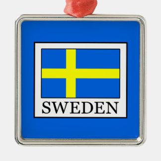 Sweden Silver-Colored Square Ornament
