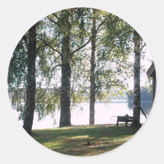 Sweden: Swedish Summer landscape Classic Round Sticker