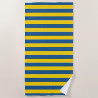 Sweden Ukraine flag stripes lines pattern blue yel Beach Towel
