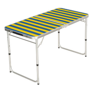 Sweden Ukraine flag stripes lines pattern blue yel Beer Pong Table