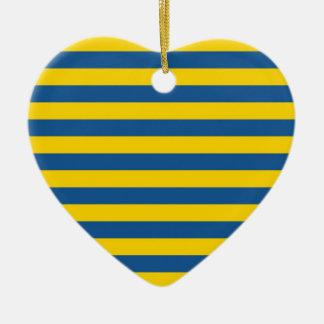 Sweden Ukraine flag stripes lines pattern blue yel Ceramic Ornament