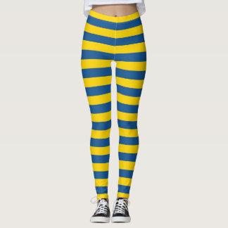Sweden Ukraine flag stripes lines pattern blue yel Leggings