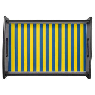 Sweden Ukraine flag stripes lines pattern blue yel Serving Tray