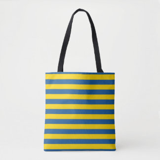 Sweden Ukraine flag stripes lines pattern blue yel Tote Bag