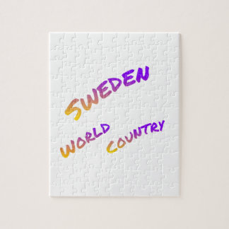 Sweden world country, colorful text art jigsaw puzzle