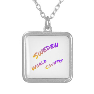Sweden world country, colorful text art silver plated necklace