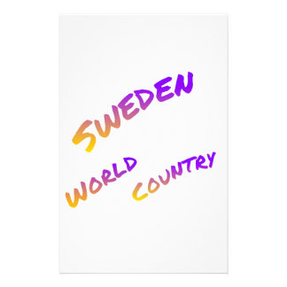 Sweden world country, colorful text art stationery design