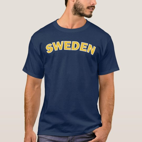 Sweden Yellow on Blue T-Shirt