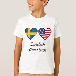 Swedish American Flag Hearts T-Shirt