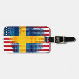 Swedish American Flag   Wood Grain   Name Address Luggage Tag