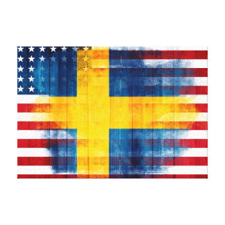 Swedish American Flag | Wood Grain & Paint Strokes Canvas Print