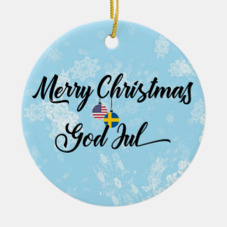 Swedish American Holiday Decoration, God Jul Ceramic Ornament
