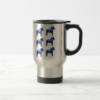 Swedish Blue Dala Horse Pattern 15 Oz Stainless Steel Travel Mug