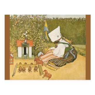 Swedish Child with Toys Postcard