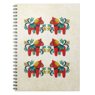 Swedish Christmas Dala Horse Scandinavian Twins Spiral Notebook