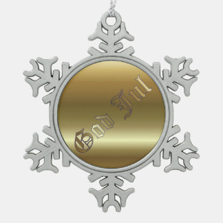 Swedish Christmas Golden Snowflake Pewter Ornament