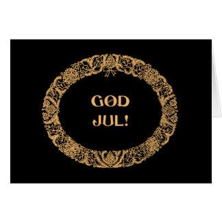 Swedish Christmas Wreath Gold-effect Black Card