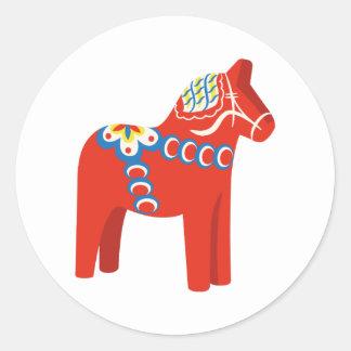 Swedish Dala Horse Classic Round Sticker