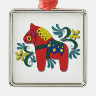 Swedish Dala Horse Colorful Whimsical Silver-Colored Square Ornament