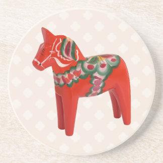 Swedish Dala Horse  Folk Art Beverage Coasters