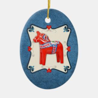Swedish Dala Horse Folk Art Framed Ceramic Oval Ornament