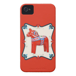Swedish Dala Horse Folk Art Framed iPhone 4 Case-Mate Case