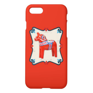 Swedish Dala Horse Folk Art Framed iPhone 8/7 Case