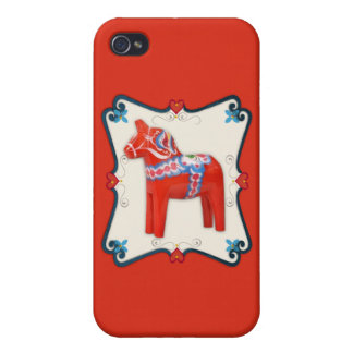 Swedish Dala Horse Folk Art Framed Scandinavian iPhone 4 Case