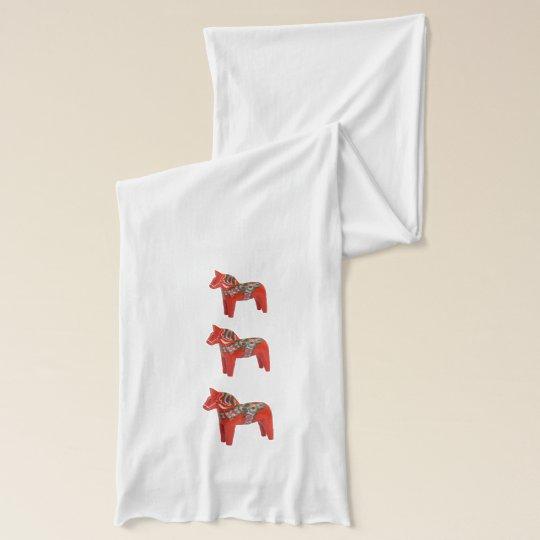 Swedish Dala Horse Folk Art Scarf Wrap