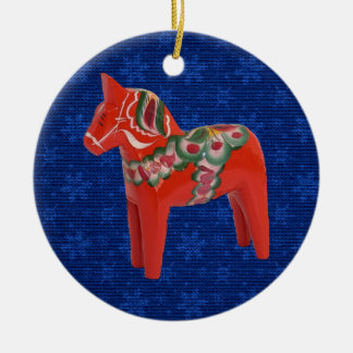 Swedish Dala Horse on Field of Blue Stars Ceramic Ornament