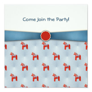 Swedish Dala Horse Party Blue Ribbon Card
