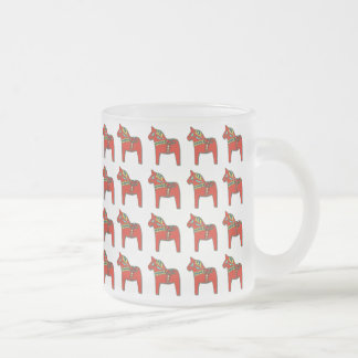 Swedish Dala Horse Pattern Scandinavian Frosted Glass Coffee Mug