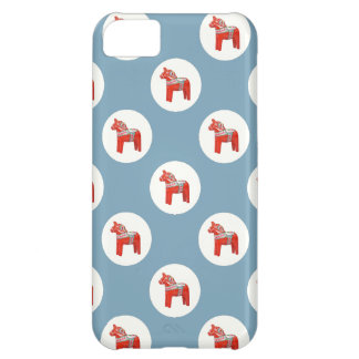 Swedish Dala Horse Polkadots on Blue Cover For iPhone 5C