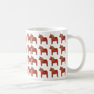 Swedish Dala Horse Scandinavian Pattern Basic White Mug