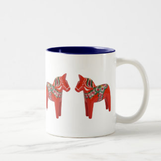 Swedish Dala Horse Scandinavian Two-Tone Coffee Mug