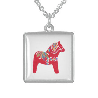 Swedish Dala Horse Sterling Silver Necklace