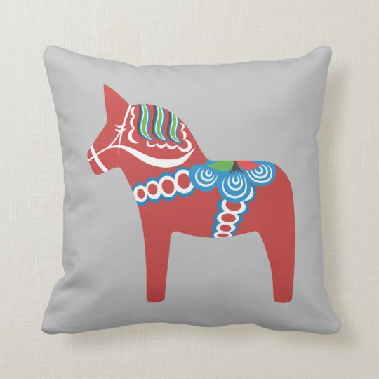 Swedish Dala Horse Throw Pillow