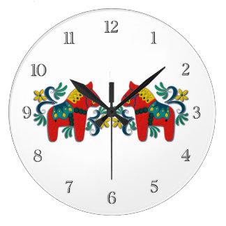 Swedish Dala Horse Twins Large Clock