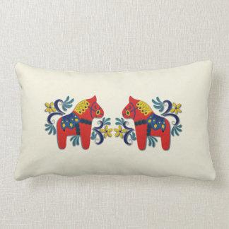 Swedish Dala Horse Twins Lumbar Pillow
