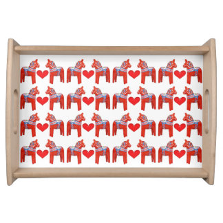 Swedish Dala Horse Twins with Hearts Serving Tray