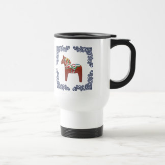 Swedish Dala Horse with Blue Delft Scroll Frame Travel Mug